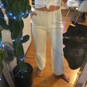 High rise relaxed fit ivory pant